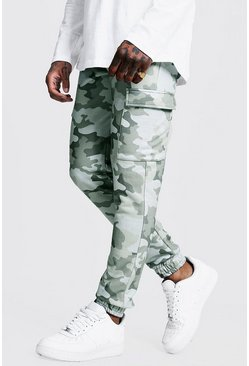 Jogging cargo coupe skinny camouflage, Gris