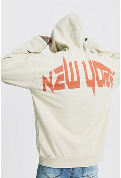 Mens Taupe Oversized Washed MAN Printed Hoodie
