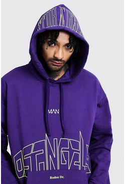 Mens Purple Oversized Neon MAN Print Loose Fit Hoodie