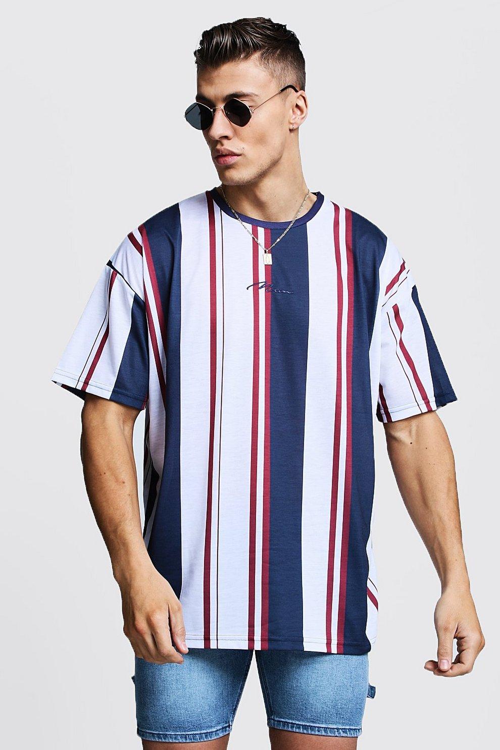 d9a00f36 Oversized MAN Signature Stripe T-Shirt | Boohoo