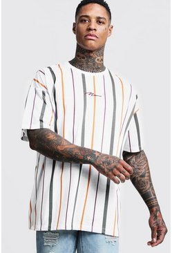 Mens White Oversized MAN Signature Stripe T-Shirt