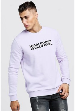 Sweat à broderie Worldwide MAN, Lilas, Homme