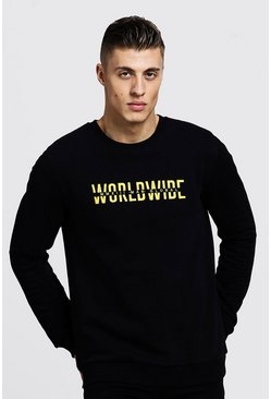 Sweat à broderie Worldwide MAN, Noir, Homme