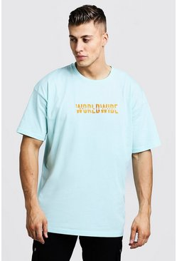 Mens Aqua Oversized Worldwide MAN Embroidered T-Shirt