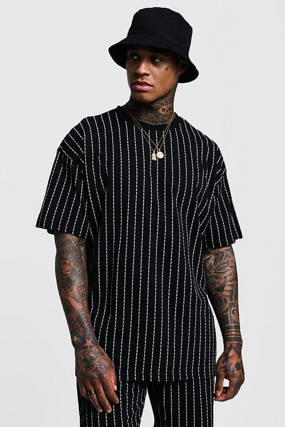 Mens Black Oversized MAN Repeat Print Pinstripe T-Shirt