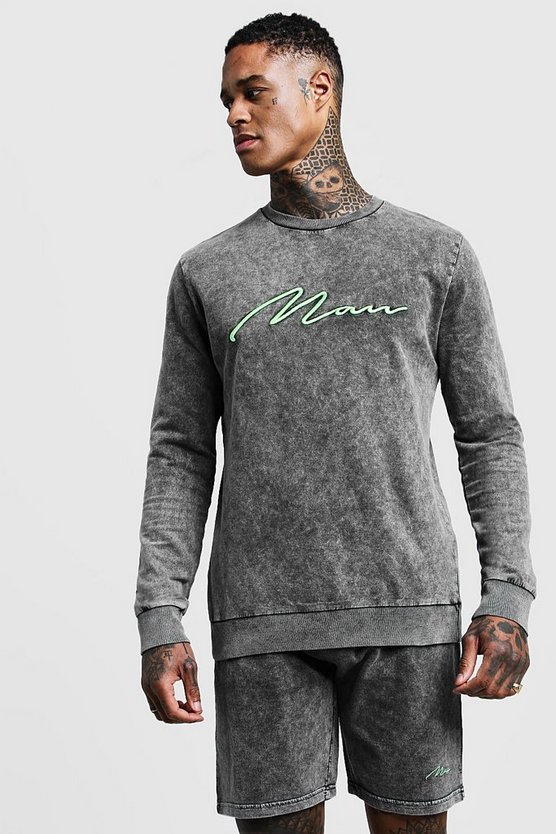 Mens Grey Acid Wash MAN Signature Sweater