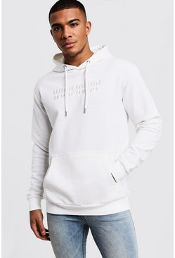 Mens White Worldwide MAN Embroidered Hoodie