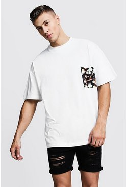 Mens Sand Oversized T-Shirt With Pocket Print