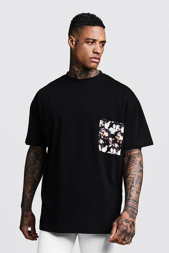 Mens Black Oversized T-Shirt With Pocket Print