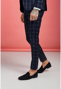 Mens Navy Bold Classic Check Super Skinny Suit Trouser