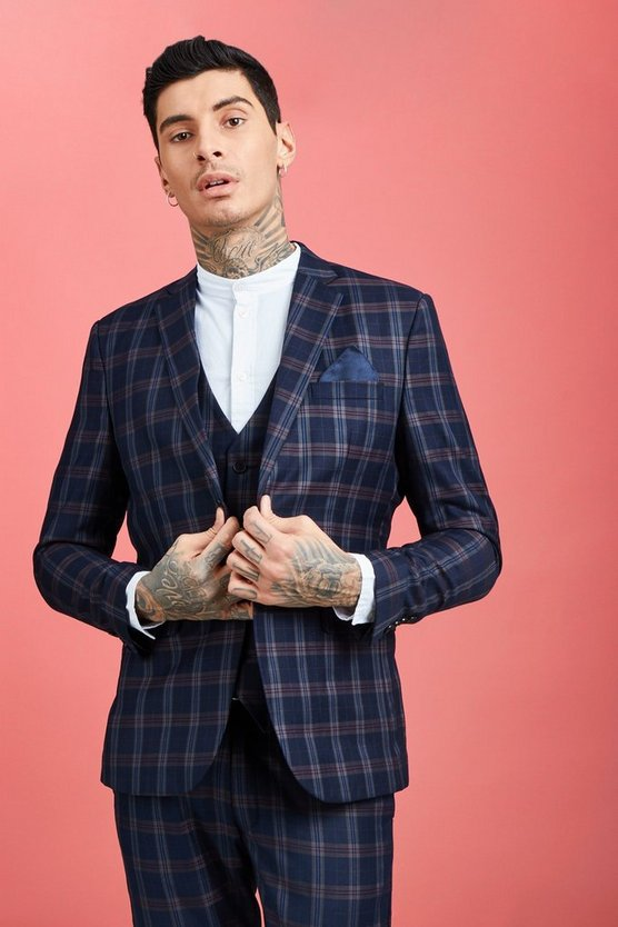 Mens Navy Bold Classic Check Skinny Fit Suit Jacket