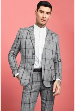 Mens Grey Jaspe Check Skinny Fit Suit Jacket
