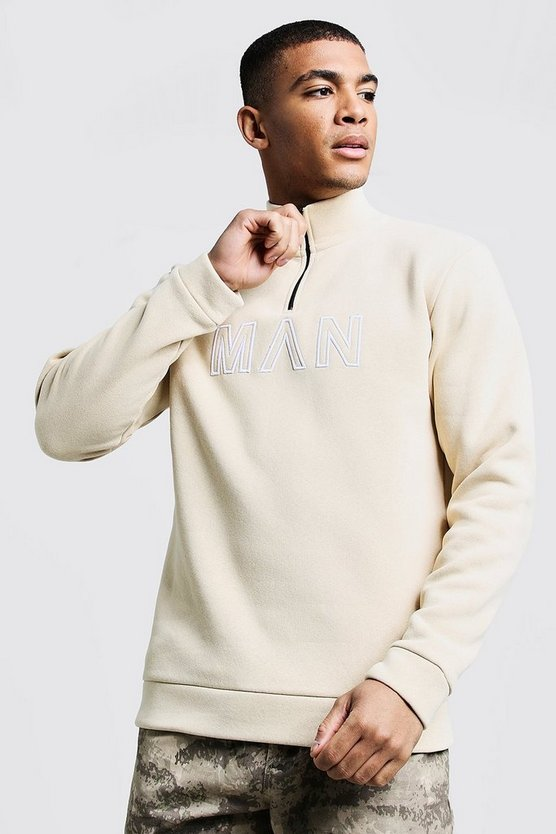 Mens Stone Funnel Neck MAN Embroidered Track Top