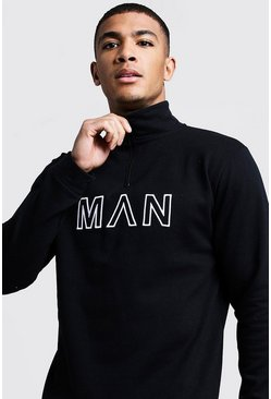 Mens Black Funnel Neck MAN Embroidered Track Top