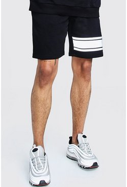 Mens Black Reflective Print Mid Length Jersey Short