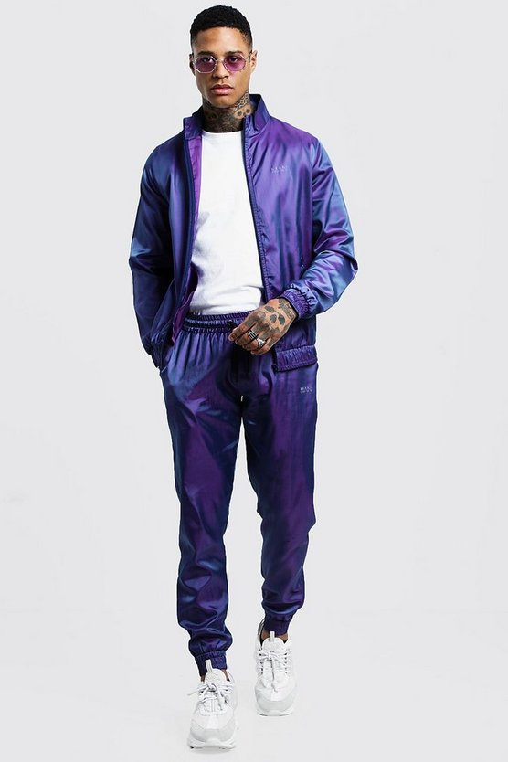 Purple Iridescent Track Top With Reflective Man Print