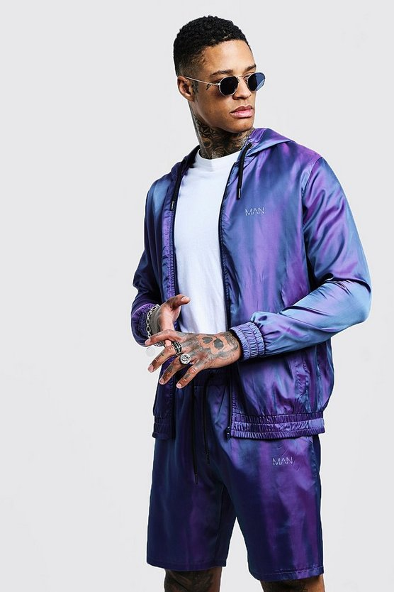 Mens Purple Iridescent Hoodie With Reflective Man Print