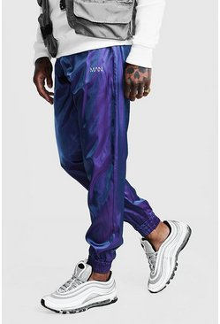 Mens Purple Iridescent Joggers With Reflective MAN Print