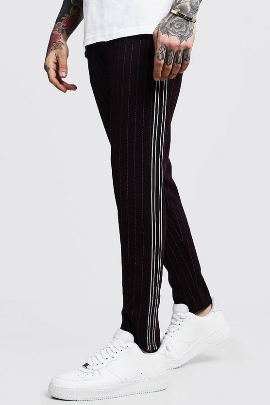 Darted Pinstripe Taped Smart Jogger, Wine, МУЖСКОЕ