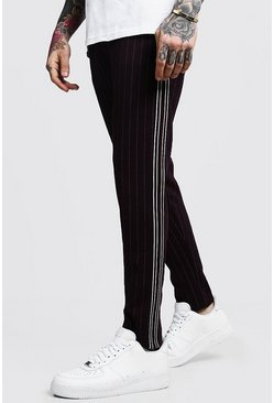 Mens Wine Darted Pinstripe Taped Smart Jogger