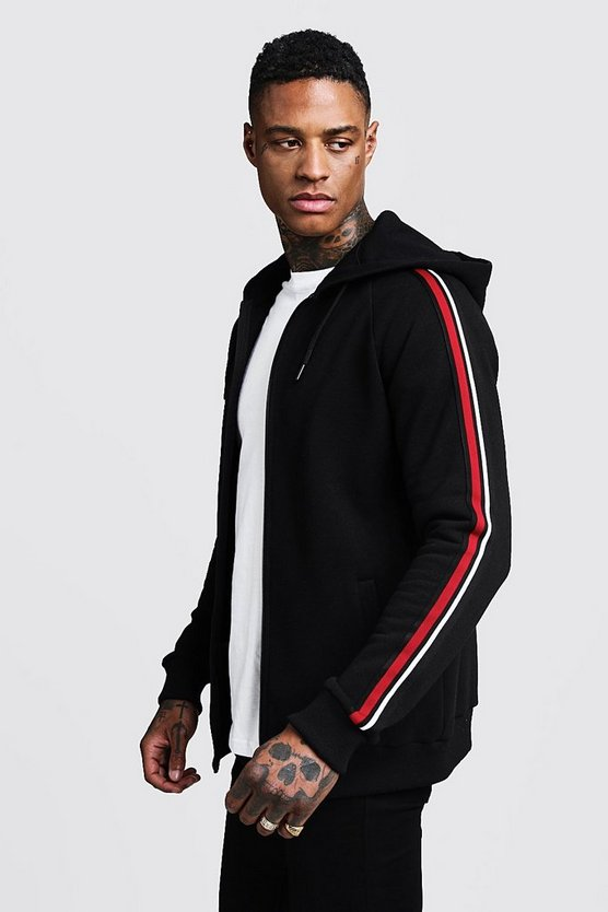 Mens Black Tape Detail Zip Through Hoodie