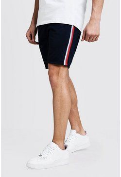 Mens Navy Tape Detail Mid Length Tricot Short