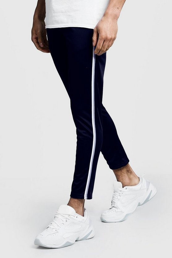 Tricot Tape Detail Cropped Jogger, Navy, Uomo