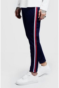 Side Tape Tricot Cropped Jogger, Navy, HOMBRE