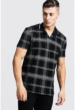 Mens Black Check Revere Collar Polo