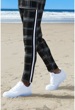 Mens Black Check Tape Detail Cropped Jogger