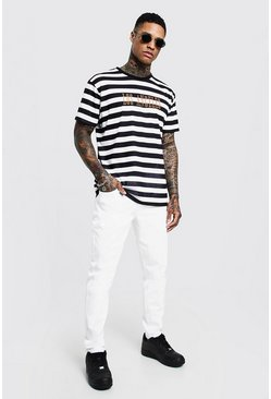 Mens Black Loose Fit Stripe T-Shirt With Embroidery