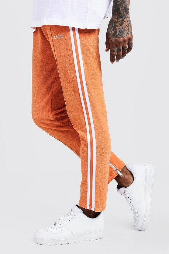 Mens Orange Velour Man Joggers With Side Tape