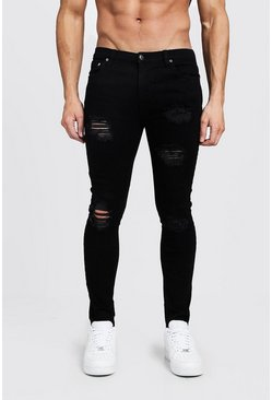 Black Super Skinny Jeans With Heavy Distressing