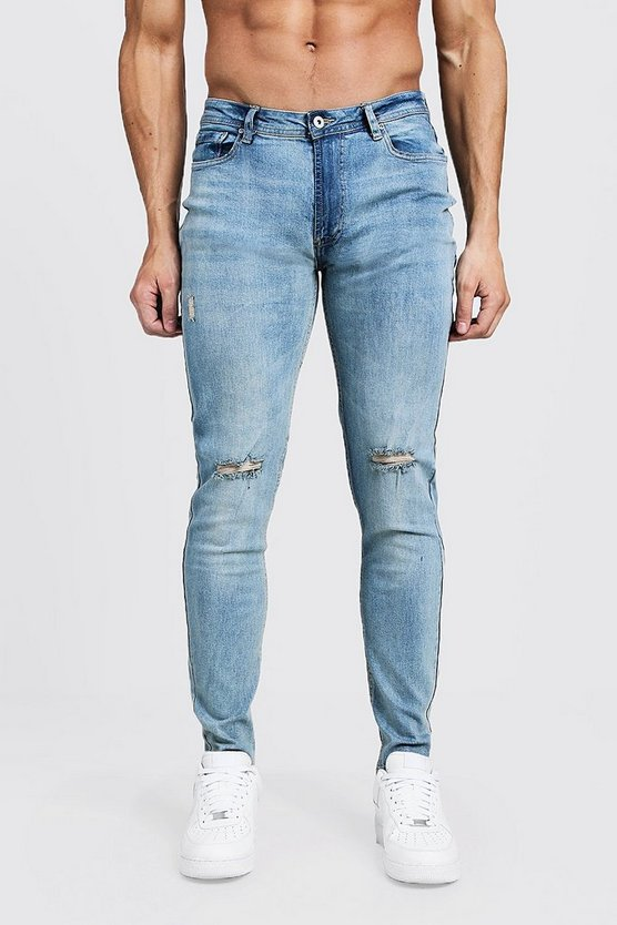 Mens Washed blue Skinny Fit Jeans With Ripped Knees