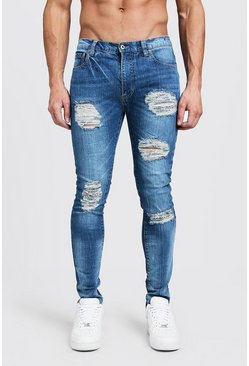 Blue Super Skinny Jeans With All Over Distressing