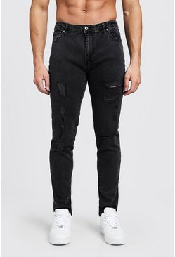 Mens Charcoal Skinny Fit Jeans With All Over Rips