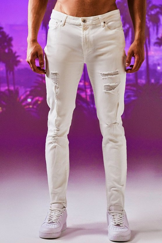 Mens White Skinny Fit Jeans With All Over Rips