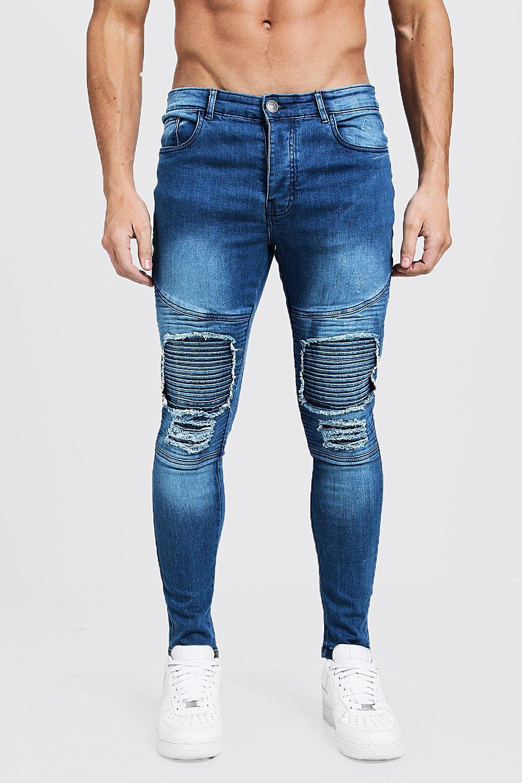 Super Skinny Repaired Biker Jeans