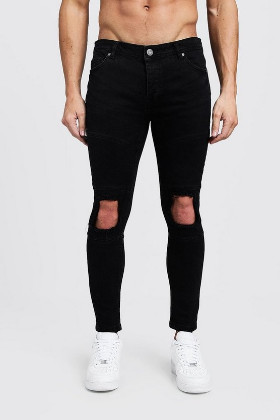 Mens Washed black Skinny Fit Biker Jeans With Calf Zip
