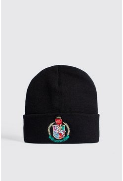Mens Black Herald Man Embroidered Beanie