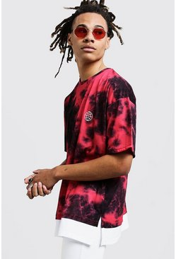 Mens Red Oversized Tie Dye T-Shirt With Faux Layer