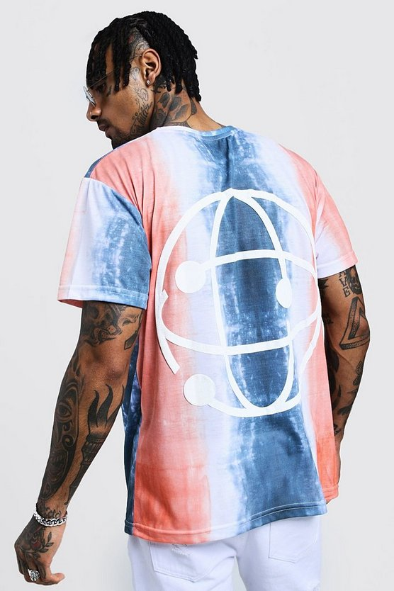 Mens Orange Crew Neck Tie Dye T-Shirt With Back Print