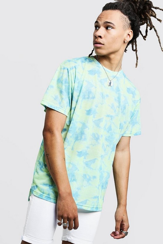 Mens Lime Step Hem Loose Fit Tie Dye T-Shirt With Back Print