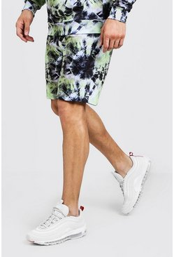 Mens Green Mid Length Tie Dye Jersey Short