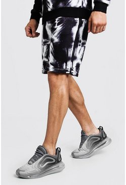 Mens Black Mid Length Tie Dye Jersey Short