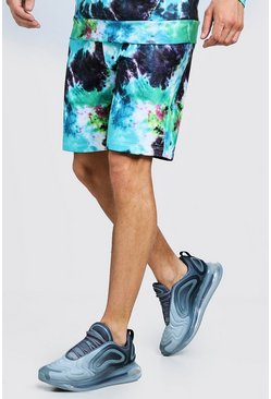 Mens Blue Mid Length Tie Dye Jersey Short