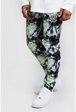 Mens Green MAN Branded Tie Dye Skinny Joggers