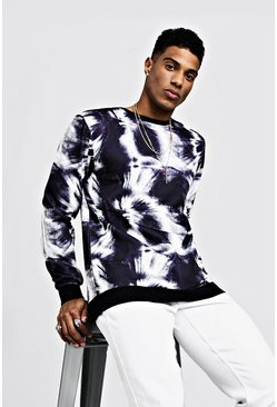 Mens Black Loose Fit Over The Head Tie Dye Sweat