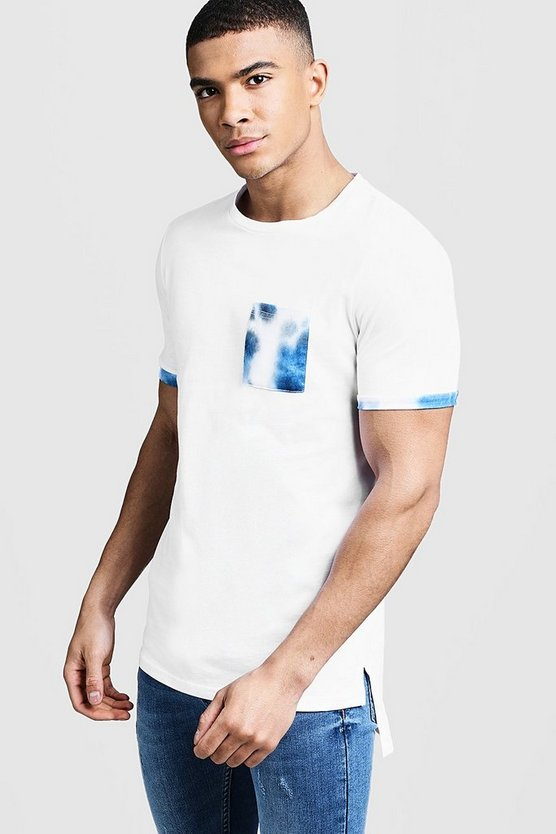 Mens White Step Hem Roll Sleeve T-Shirt With Tie Dye Pocket