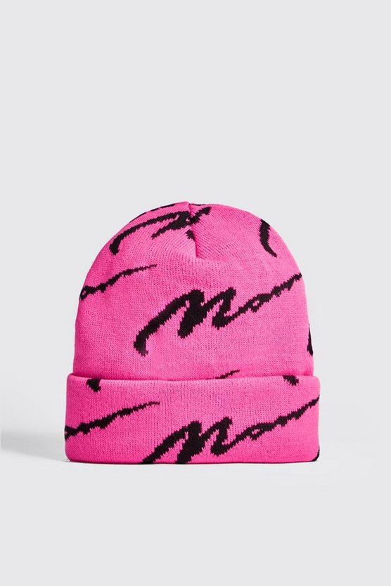 Neon-pink Neon MAN All Over Knit Beanie